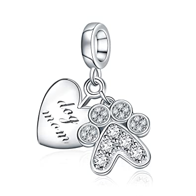 91bec63f6 AMATOLOVE 925 Sterling Silver Charms Bead Heart Jewelry Dog Mom I Love You  Paw Print for