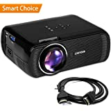 "Crenova XPE460 video projector with 180"" display, Full HD 1080P mini projector compatible with Fire TV Stick, Laptops, Games and iPhone/Android Smartphones for Home Theater"