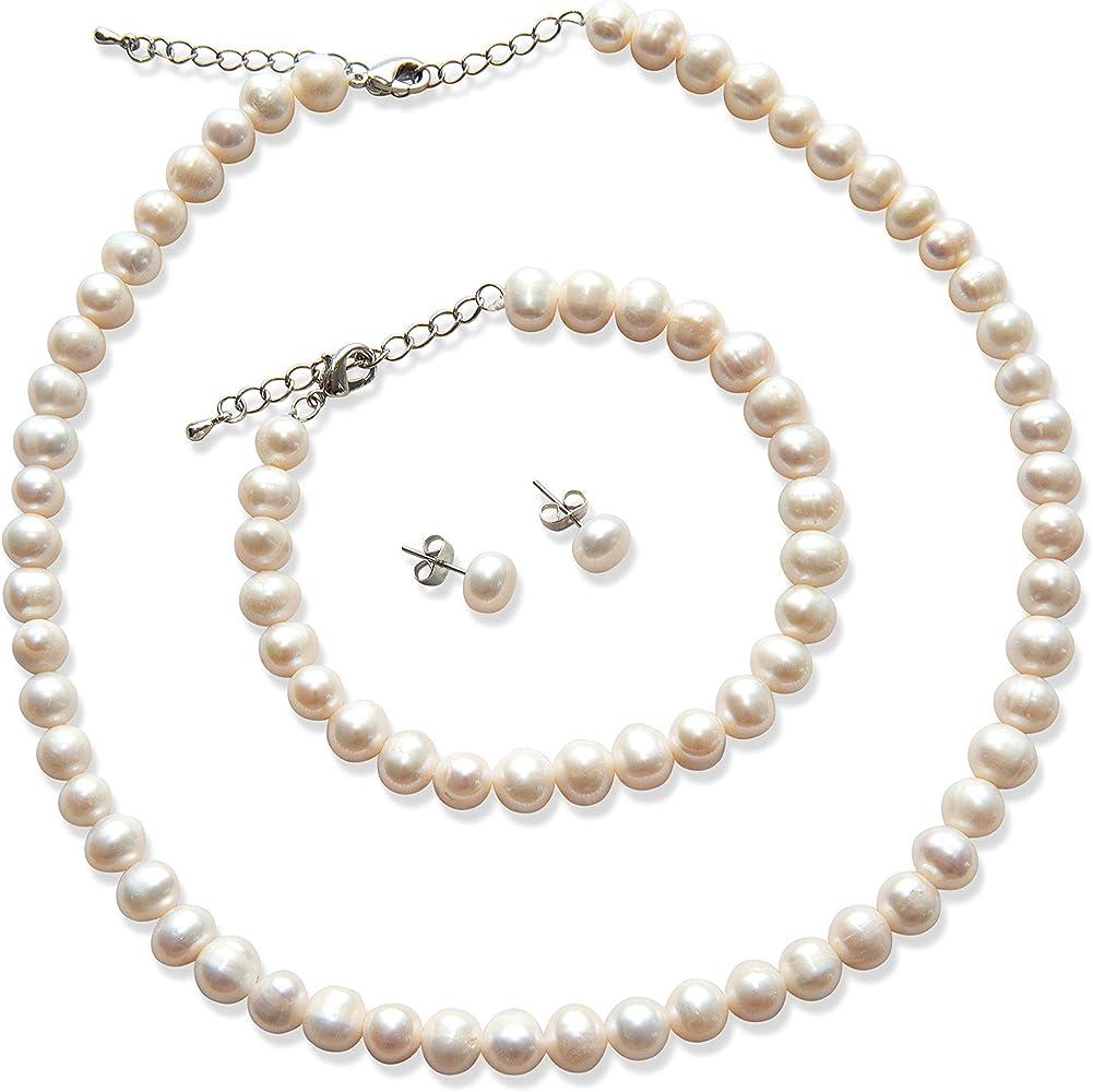 Fashion Pearl Jewelry Sets Luxury Ball Pearls Necklace Earrings Bracelet SetCYJ
