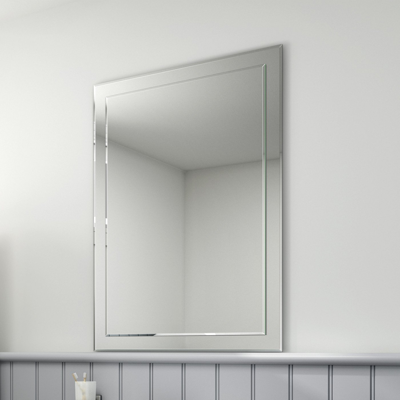 650 X 900 Mm Rectangular Bevelled Designer Bathroom Wall Mirror MC147