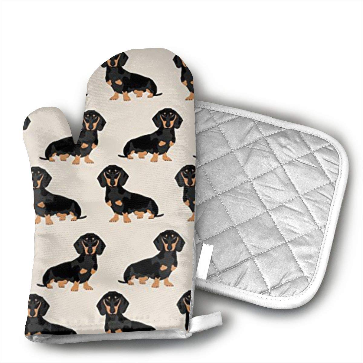 Xayeu Wiener Dog Fabric Doxie Dachshund Weiner Dog Pet Dogs Oven Mitts with Quilted Cotton Lining - Professional Heat Resistant Pot Holders