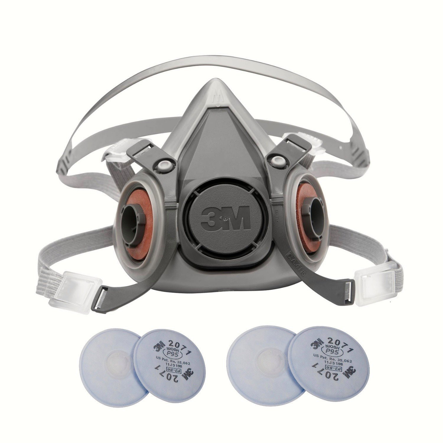 3M 6000 Series Respirator Medium Half Mask Facepiece with Adjustable Straps Size Medium 6200 with 2 Pairs of 3M 2071 Filters