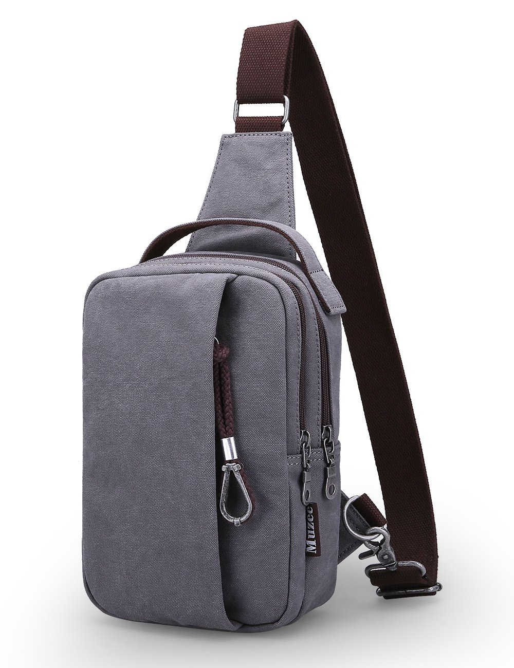 Muzee Sling Bag Chest Shoulder Gym Backpack Sack Satchel Outdoor Crossbody Bag (New grey)