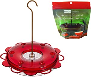 Naturesroom Birds Choice Hummerfest 12 oz Hanging Hummingbird Feeder - NP1002, Red, Plus Bonus Pack of Nectar