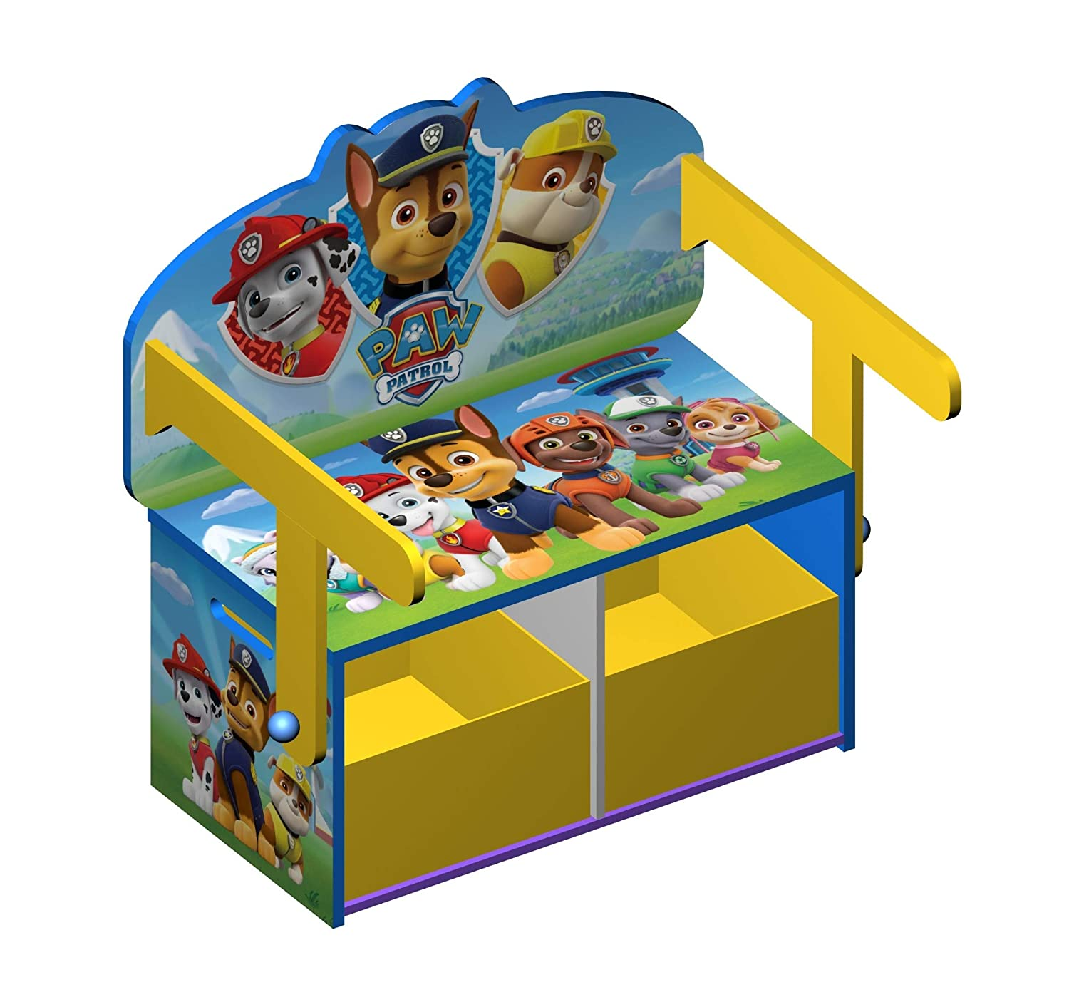 Rocky Skye Everest Marshall Paw Patrol Wooden Kids 3 in 1 Convertible Toy Box Chair Bench /& Table Chase Zuma