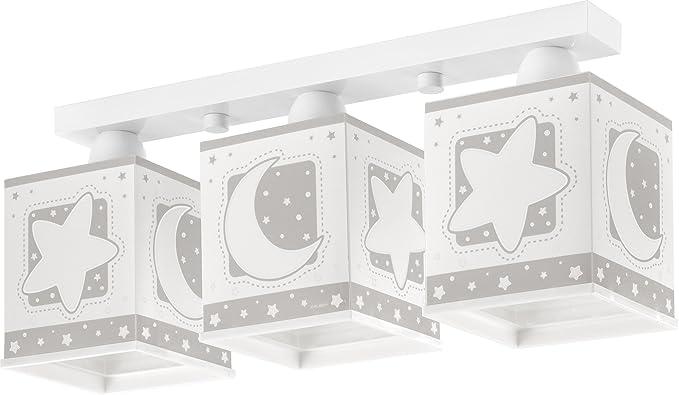 Dalber 63233E Moon and Stars, Lámpara regleta 3 luces Luna y estrellas gris, E27, Clase de eficiencia energética A++ a C