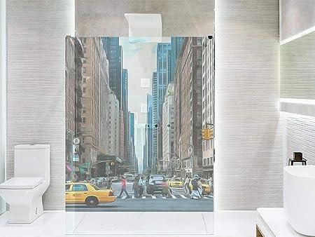 Vinilo Transparente para Mamparas de Ducha y Baños Nueva York | Varias Medidas 185x110cm | Adhesivo Resistente y de Fácil Aplicación | Pegatina Adhesiva Decorativa de Diseño Elegante: Amazon.es: Hogar