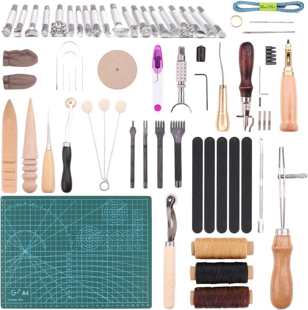 Kit de 55 Piezas Herramientas de Cuero para Manualidades Herramientas Costura de Cuero Herramienta de Artesanía para Bricolaje