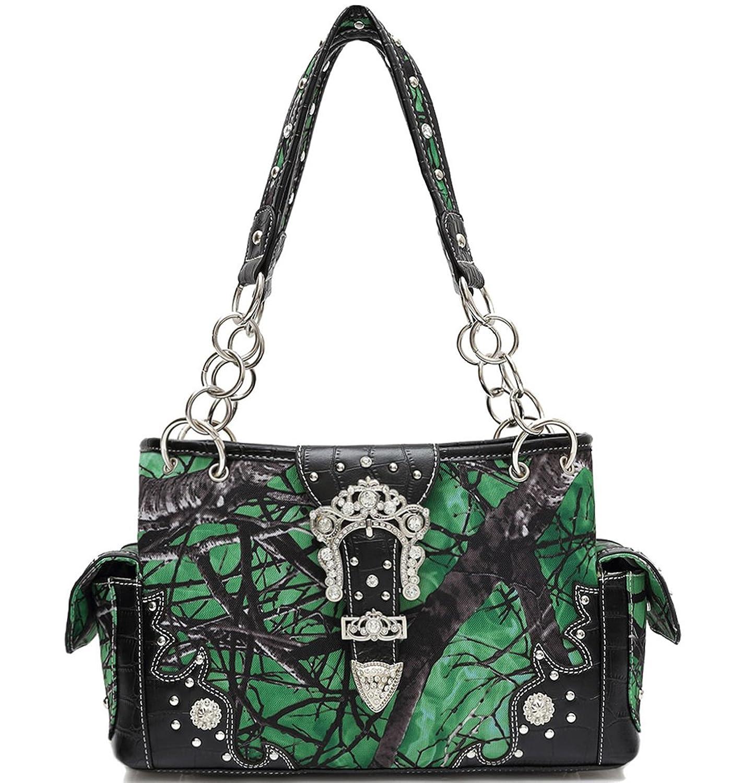 Cowgirl Trendy Western Concealed Carry Buckle Camouflage Purse Handbag Shoulder Bag Wallet Set Green