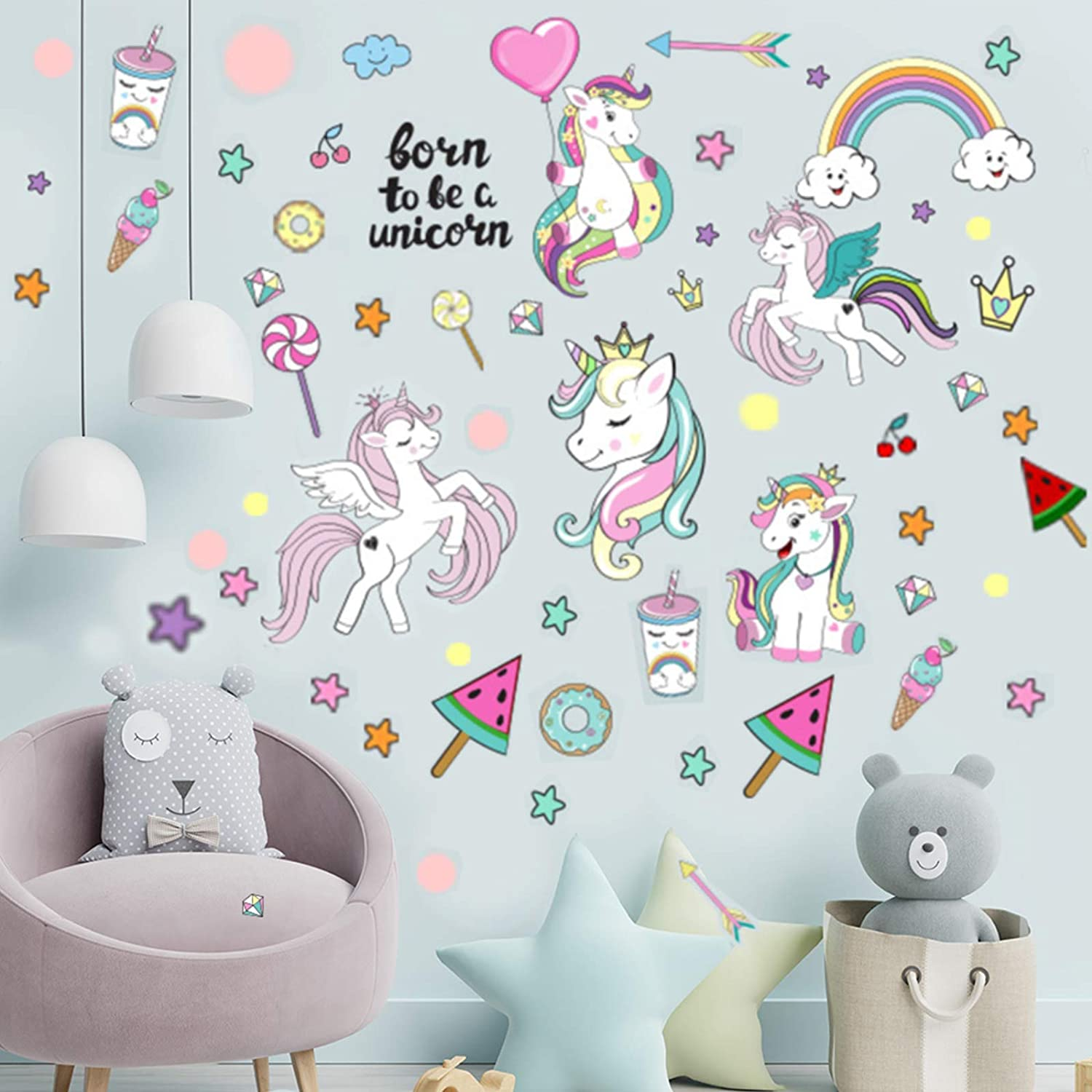 Unicorn Wall Stickers for Girls Bedroom, 4 Sheets Unicorn Wall Decals Removable Kids Wall Décor with Rainbow Stars Hearts for Teens Toddlers Bedroom Nursery Birthday Party Decoration, by WILLROAD