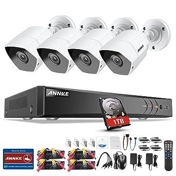 ANNKE 4CH 3.0MP DVR Kit de 4 Cámaras de Seguridad Vigilancia(CCTV 1080P IP66