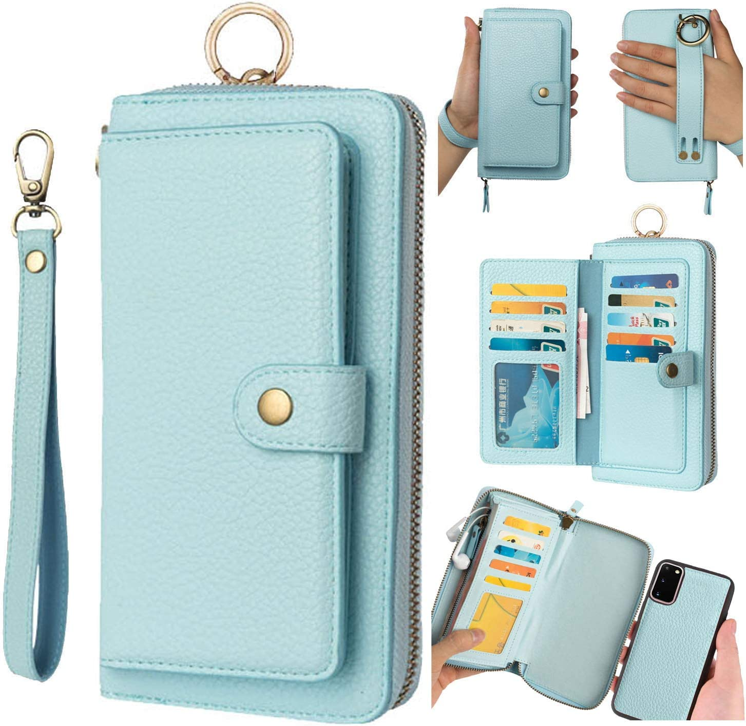 AIFENGCASE Compatible with Samsung Galaxy S20 Plus Phone Case,Wallet Case for Women Men Girls,Wristlets Clutch Zipper Leather Pouch Wallet Flip Case Card Holder Magnetic Detachable Back Cover,Blue