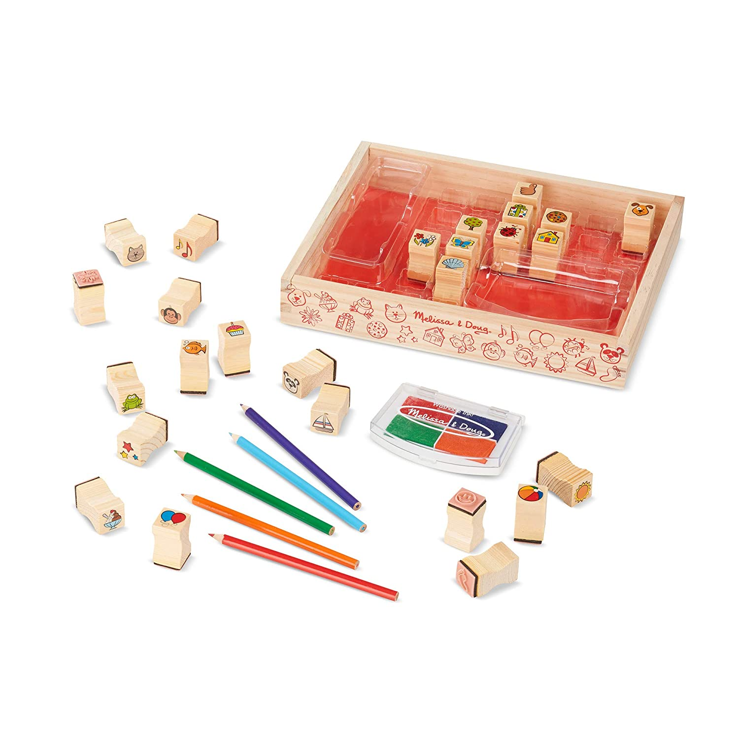Melissa Doug Deluxe Wooden Stamp Set Animal Stamps Best For 4 5 6 Year Olds And Up Wooden Favorite Things Stamp Set Sturdy Wooden Storage