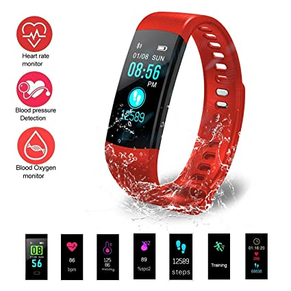 32b7d26e22 Amazon.com: Fitness Tracker, Heart Rate Monitor Watch with Color ...