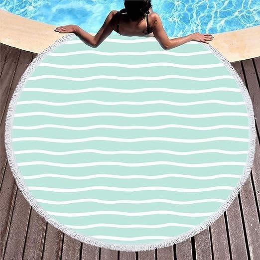 Ahawoso - Toalla de playa redonda con borlas circulares de 60 ...