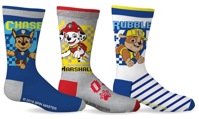 Chase Marshall Rubble Paw Patrol Boys Sport Socks 3 Pairs Size 4-6