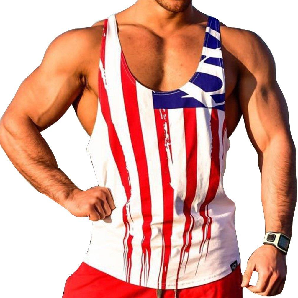 WEIMEITE Men USA Flag Tank Tops Vest Sport Tank Top Workout Men Muscle Bodybuilding Tank Top