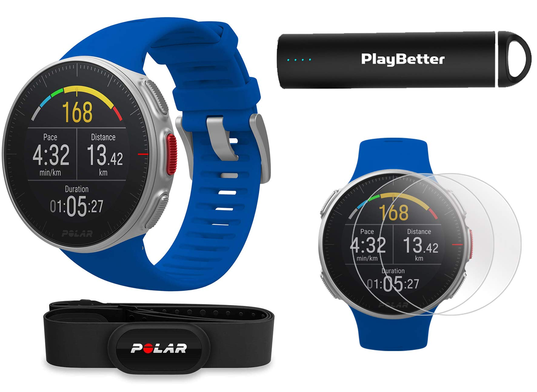 PlayBetter Polar Vantage V Pro (Blue with H10 Heart Rate Sensor) Power Bundle Portable Charger & Screen Protectors | Multisport Watch | GPS & Barometer by PlayBetter