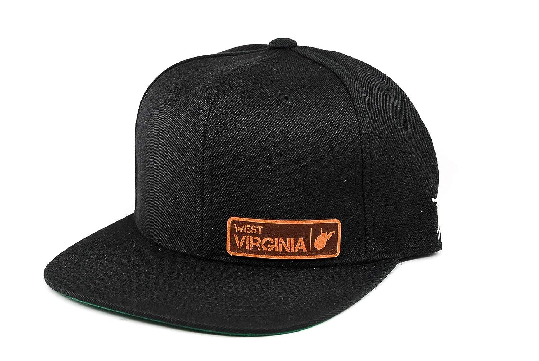 Branded Bills /'West Virginia Native Leather Patch Snapback Hat OSFA//Black