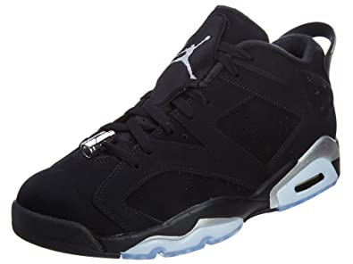 Jordan Men's Air 6 Retro Low, CHROME-BLACK/METALLIC SILVER-WHITE,