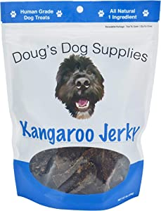 Doug's Dog Supplies - Kangaroo Jerky Dog Treats - Human Grade, 1 Ingredient, 100% Natural Healthy Wild Caught Jerky Treat - Puppy Treats for Training, or Snacks for Small or Large Breeds - 8 oz. Bag