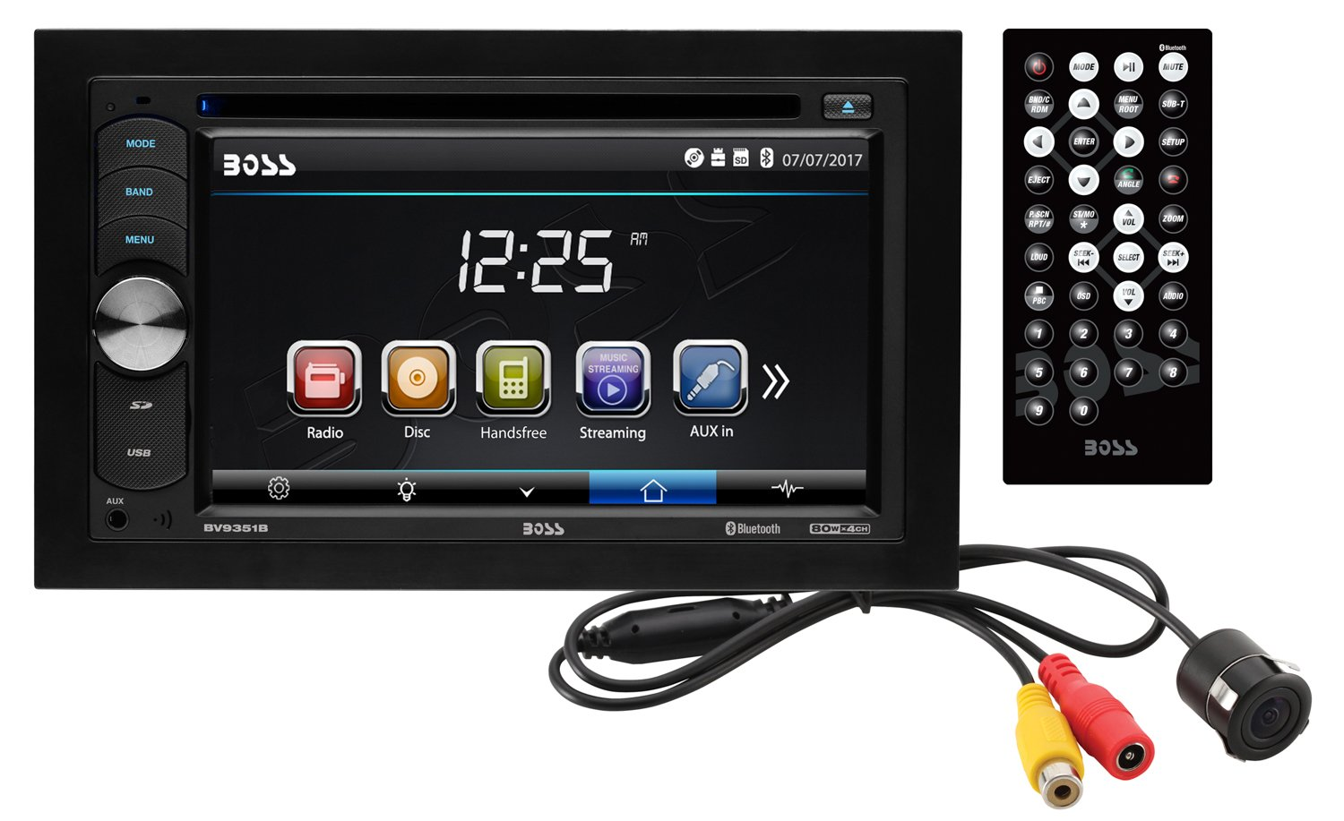 BOSS Audio BVB9351RC Double Din, Touchscreen, Bluetooth, DVD/CD/MP3/USB/SD AM/FM Car Stereo, 6.2 Inch Digital LCD Monitor, Wireless Remote Rearview Flush Mount Camera Included by BOSS Audio Systems