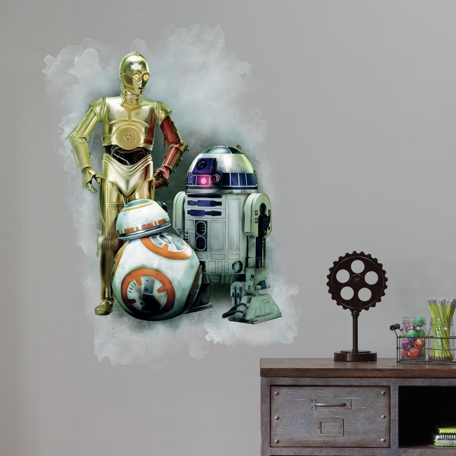 RoomMates Star Wars The Force Awakens Ep VII R2-D2, C-3PO, BB-8 Peel And Stick Giant Wall Graphic