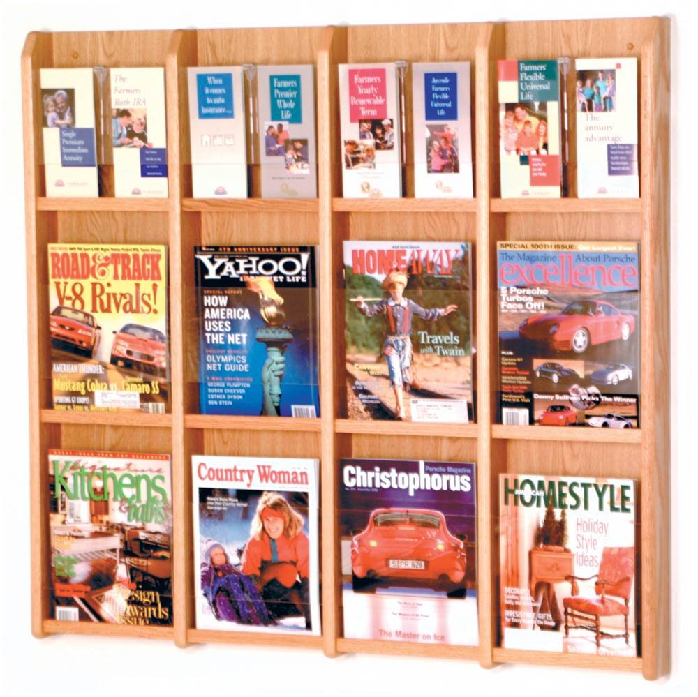 Wooden Mallet Divulge 12 Magazine/24 Brochure Floor Display w/Brochure Inserts, Light Oak