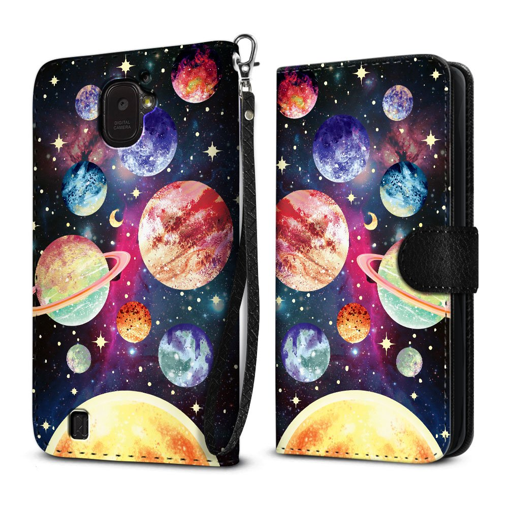 ZTE Citrine LTE Z716G Z717VL Z716BL Case, FINCIBO Ultra Slim Protective Carry Flip Canvas Wallet Pouch Case with Credit Card Holder TPU Cover, Planet Solar System