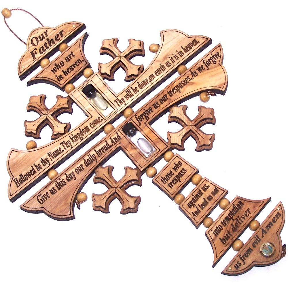Holy Land Market Byzantine Olive wood Cross with Lord prayer made by Laser technology (10 inches)