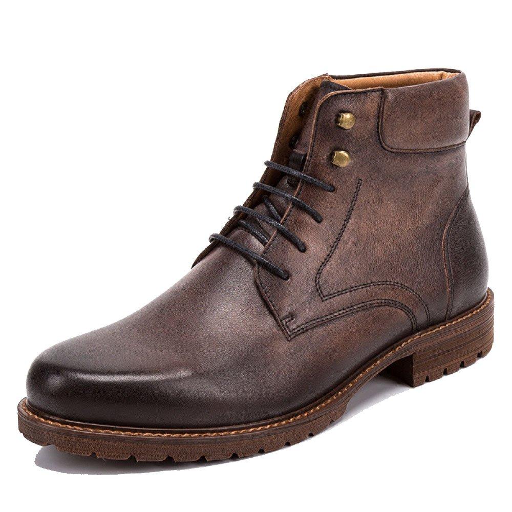 LYZGF Männer British Retro Casual Fashion Stiefelies Jugend Schnürsenkel Lederstiefel