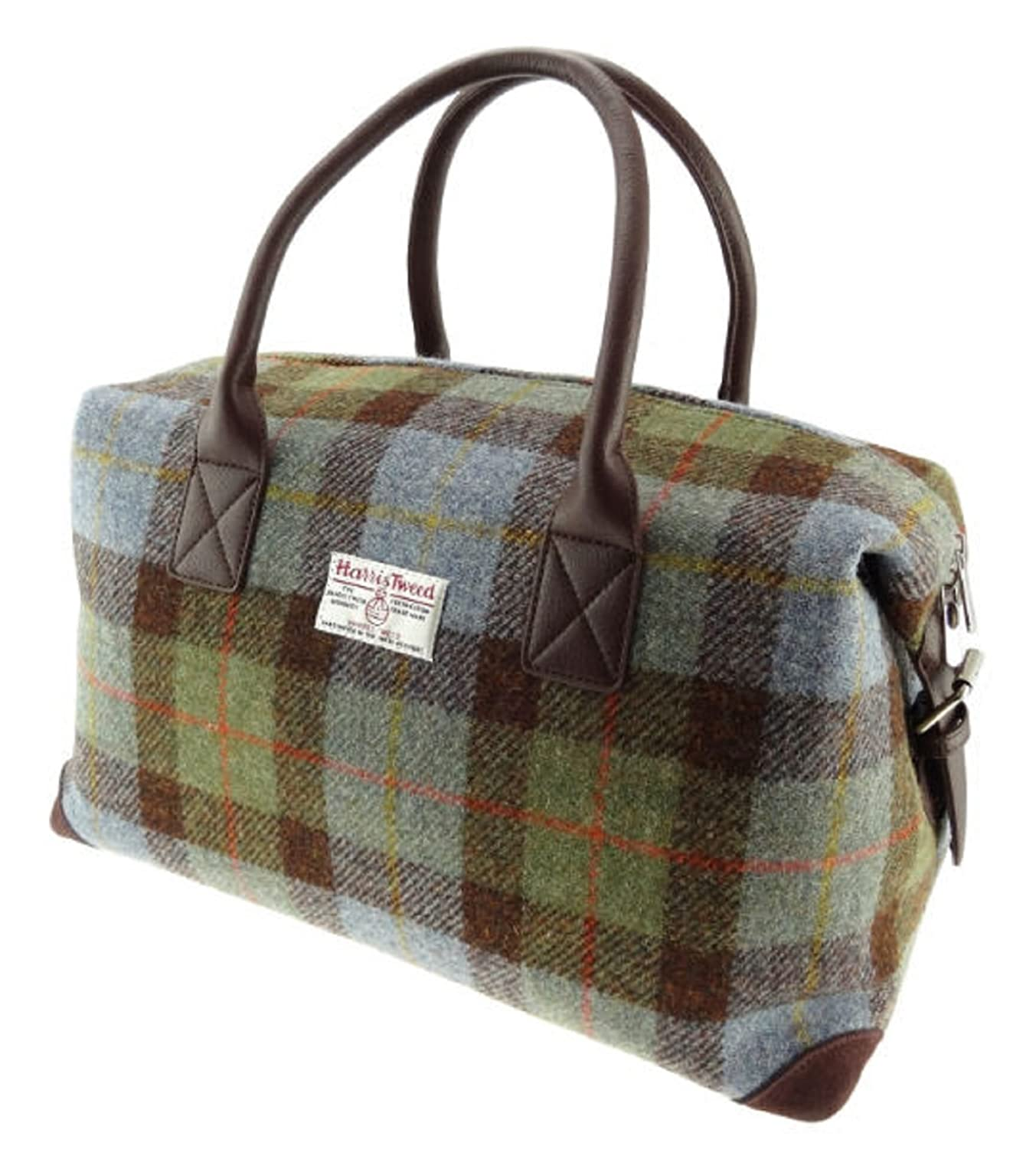 Harris Tweed Green & Red Tartan Overnight Bag: Amazon.co.uk ...