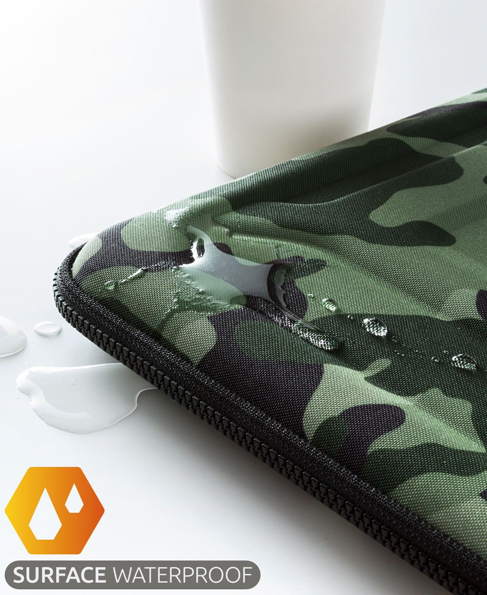 Protective Laptop Case: 13 - 13.3 Inch Computer Carrying Sleeve for 2018 New Macbook Air, Pro, Microsoft Surface or Chromebook - Padded, Waterproof and Shockproof Hard Lap Top Cover Cases - Camo by Nacuwa (Image #4)