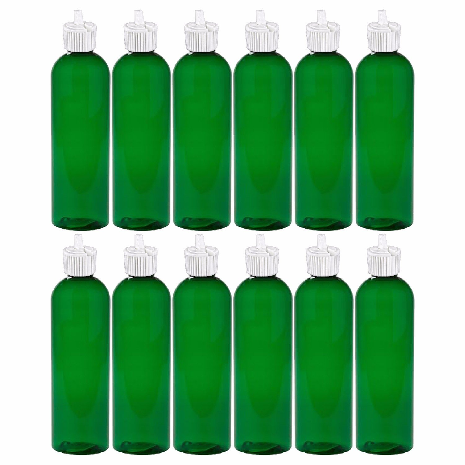 MoYo Natural Labs 4 oz Squirt Bottles, Squeezable Empty Travel Containers, BPA Free PET Plastic for Essential Oils and Liquids, Toiletry Cosmetic Bottles Neck 20-410 Pack of 12, Green