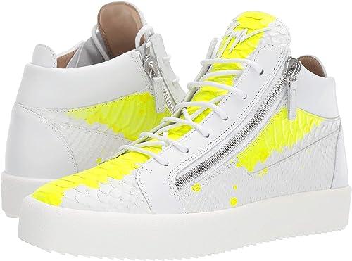 44cc3888bb Giuseppe Zanotti Men's May London Mid Top Zayn Sneaker White/Yellow 44 ...