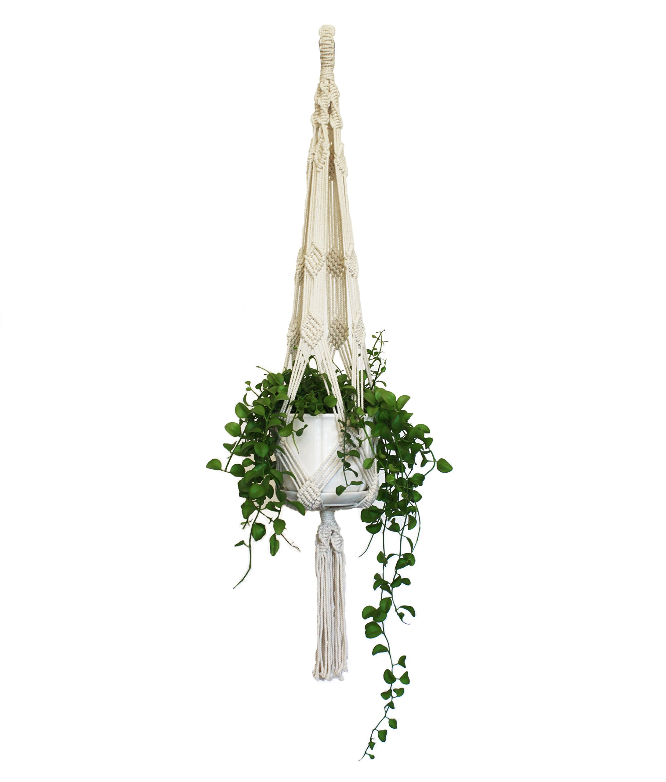 Macrame Plant Hanger - Handmade Hangers from Natural Cotton Rope - Large White 40 inch - for Hanging Plants Indoor, Outdoor - Modern, Boho, Art Décor Plant Holders by Discara by Discara