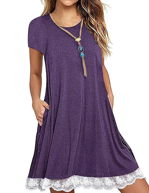 Purple FISOUL Women's Casual 3 4 Sleeve Lace Tunic Dress Summer TShirt Dress with Pockets