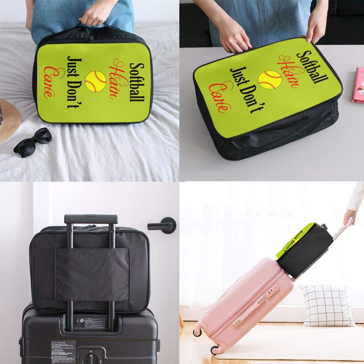 Just Dont Care Large Capacity Waterproof Foldable Storage Tote Travel Luggage Duffle Bag Lightweight Portable Handbag Softball Hair