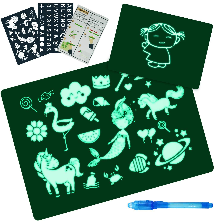 AGAKY Doodle Drawing Mat, Enfant Doodle Planches,Magic Draw avec La LumièRe Pen, Lumineuse Magique Pad Drawing Board Set pour Dessiner/Doodle/Write