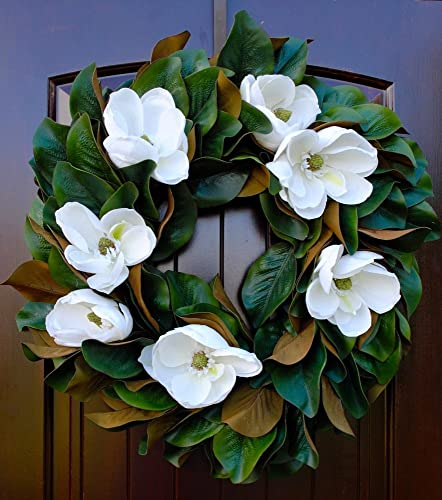 Amazon Southern Magnolia Wreath With Blooms And Leaves For