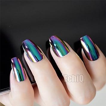 Amazon.com: 24Pcs Galaxy French Nail Art Tips Gradient Red Blue ...
