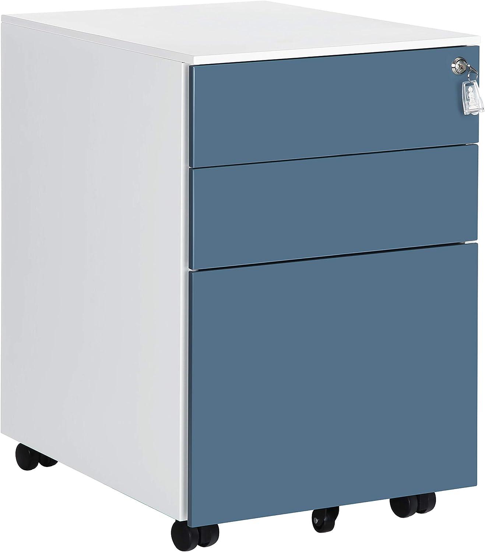 SONGMICS Archivador con 3 Cajones, Armario de Oficina con Cerradura, para Carpetas, Documentos, Papeles, 52 x 39 x 60 cm, Blanco y Azul OFC60WB