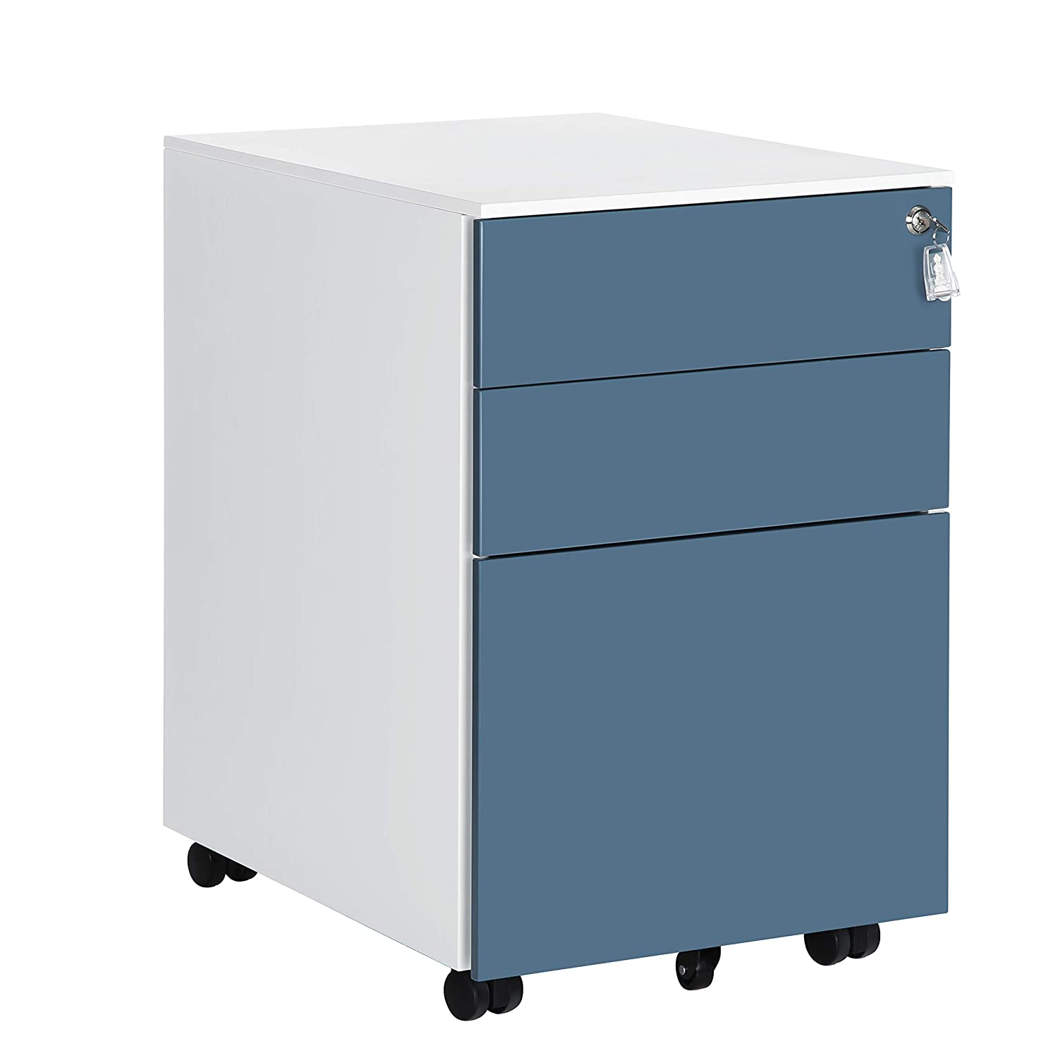 "SONGMICS UOFC60WB Mobile File Cabinet, 20.5""L x 15.4""W x 23.6""H, White + Blue"