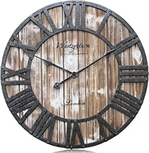 Westzytturm Extra Large Wall Clock Wood Rustic Vintage Oversized Decorative 3D Roman Numeral Farmhouse Wall Clocks for Living Room,Kitchen,Office,Mantel(Pink 24 inch)