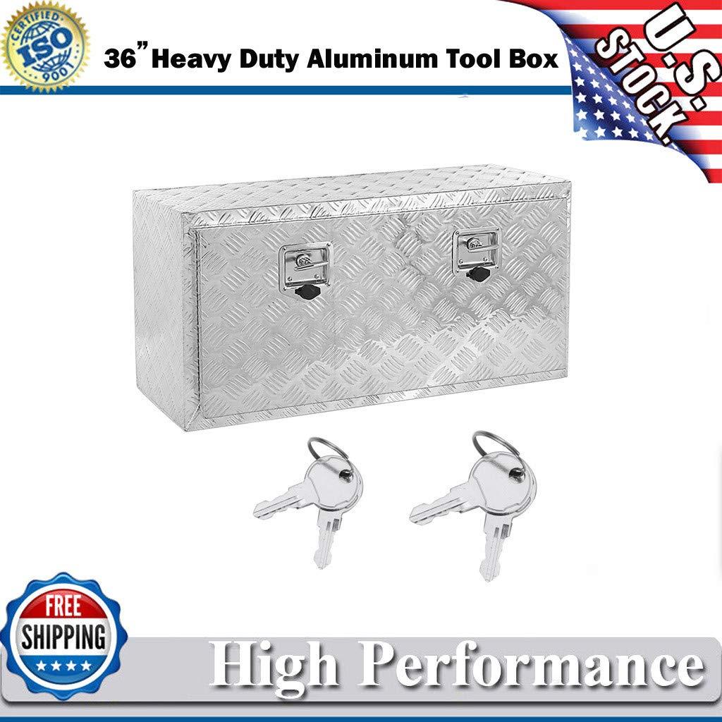 UMei 36 Aluminum Tool Box Heavy Duty Organizer Stainless Steel Pickup Truck Bed Storage Truck Box US Stock
