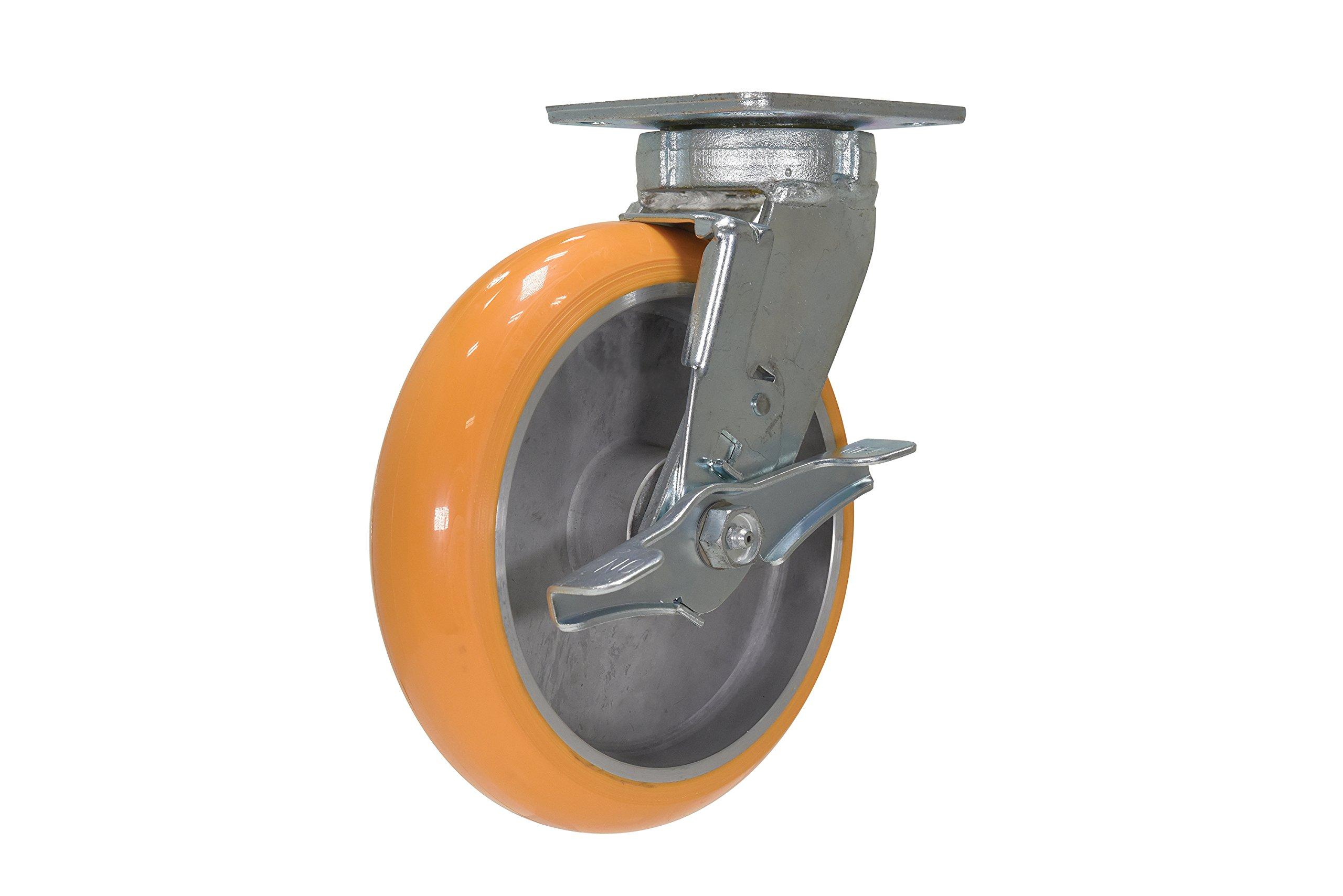 Vestil CST-F40-8X2SI-SWB 8'' x 2'' Poly/Aluminum Hub Swivel with Brake Caster, Orange