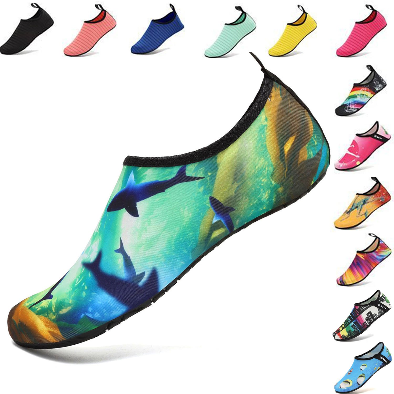 VIFUUR Water Sports Shoes Barefoot Quick-Dry Aqua Yoga Socks Slip-On for Men Women Kids Ocean-38/39