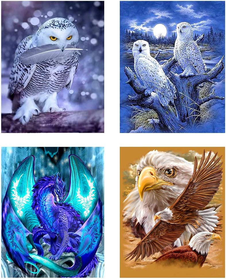 4 Pack 5D Full Drill Dragon Diamond Painting Kits,DIY Round Diamond Rhinestone Embroidery Eagles Picture Arts Crafts for Home Office Wall Decor 11.8×15.8 Inch (Four Animals)