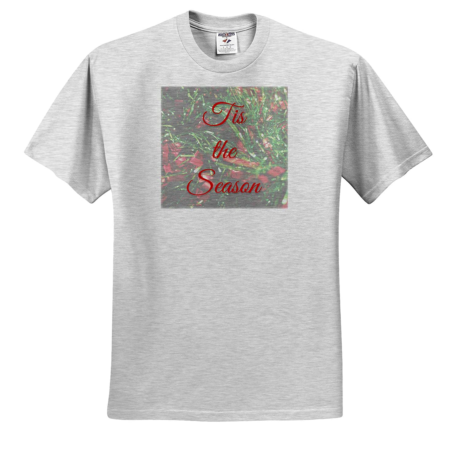 3dRose Stamp City Typography Photograph of Faded Garland with Tis The Season in Typography - T-Shirts