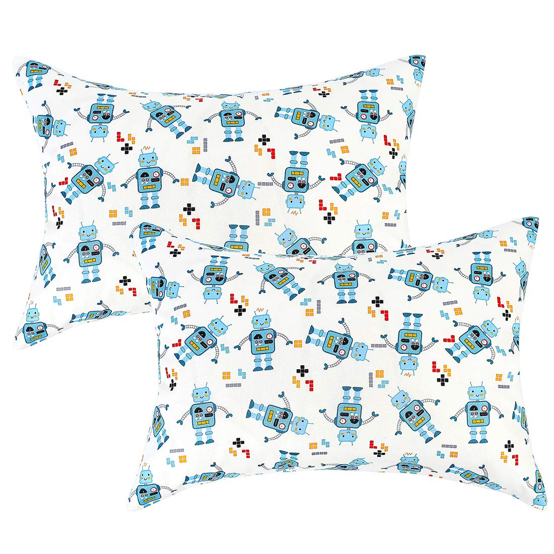 IBraFashion Toddler Pillowcases for Boys and Girls Cute Robots 14x19 for 13x18, 12x16 Pillow 100% Cotton Printings Set of 2